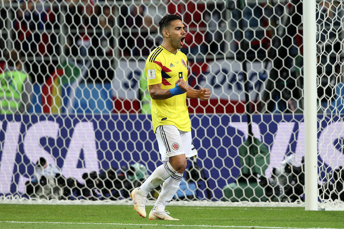 Radamel Falcao of Colombia celebrates scoring his spot kick during the penalty shoot out at the end of the 2018 FIFA World Cup match at Spartak Stadium, Moscow Picture by Paul Chesterton/Focus Images Ltd +44 7904 640267 03/07/2018