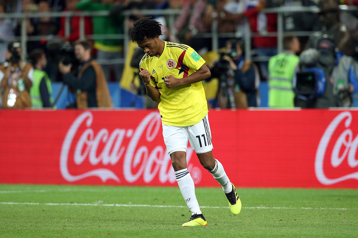Juan Cuadrado of Colombia celebrates scoring his spot kick during the penalty shoot out at the end of the 2018 FIFA World Cup match at Spartak Stadium, Moscow Picture by Paul Chesterton/Focus Images Ltd +44 7904 640267 03/07/2018