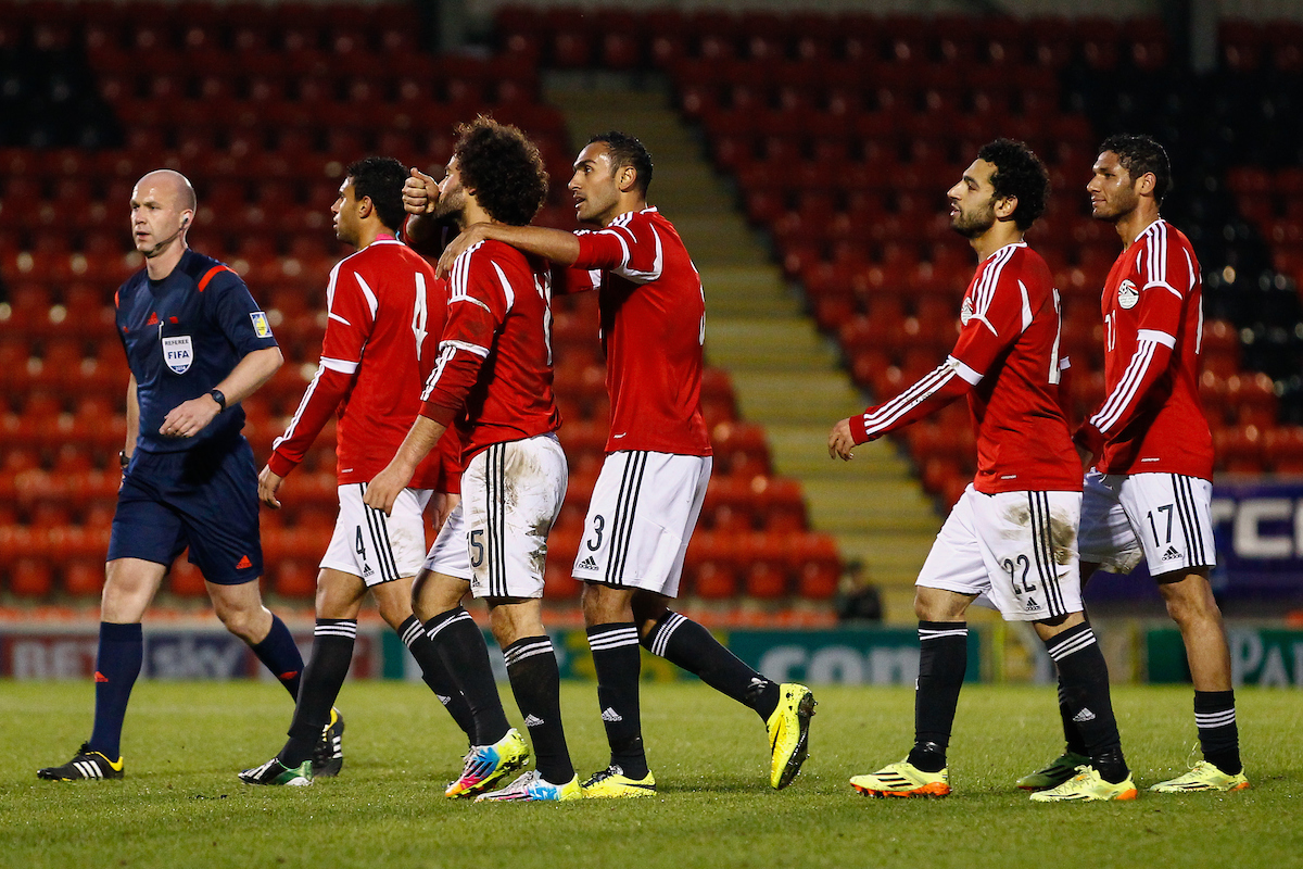 Basem Moursi of Egypt  (3rd left) celebrates scoring his team's second goal to make it 2-2 during the International Friendly match at the Matchroom Stadium, London Picture by David Horn/Focus Images Ltd +44 7545 970036 04/06/2014