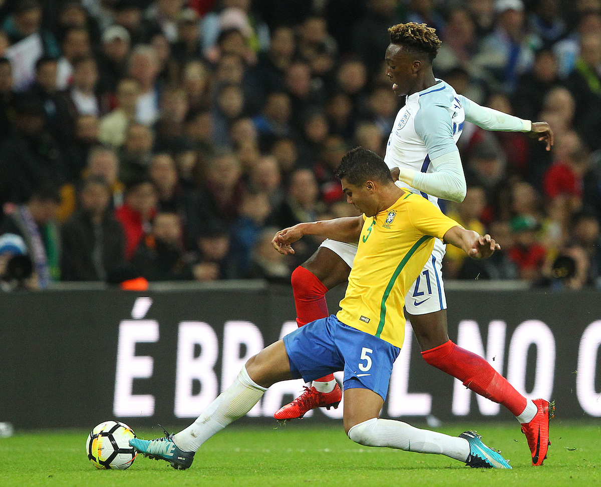 Casemiro of Brazil and Tammy Abraham of England in action during the International Friendly match at Wembley Stadium, London Picture by Paul Chesterton/Focus Images Ltd +44 7904 640267 14/11/2017