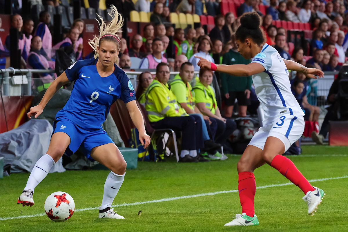 Eugénie Le Sommer of France (left) and Demi Stokes of England (right) during the UEFA Women's Euros 2017 quarter-final match at De Adelaarshorst, Deventer Picture by Kristian Kane/Focus Images Ltd +44 7814 482222 30/07/2017