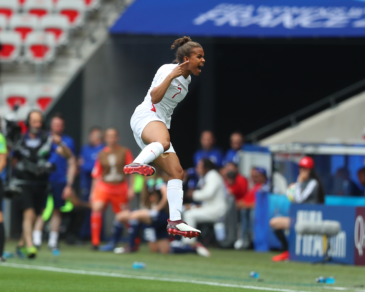 Nikita Parris of England Women celebrates scoring their first goal from the penalty spot during the 2019 FIFA Women's World Cup match at Allianz Riviera, Nice Picture by Kunjan Malde/Focus Images Ltd +447523653989 09/06/2019