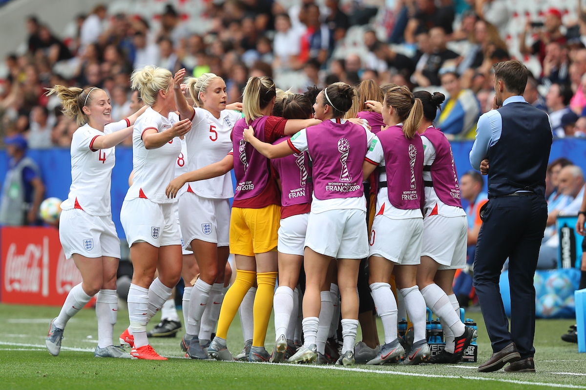 Nikita Parris of England Women celebrates scoring their first goal from the penalty spot with team mates during the 2019 FIFA Women's World Cup match at Allianz Riviera, Nice Picture by Kunjan Malde/Focus Images Ltd +447523653989 09/06/2019