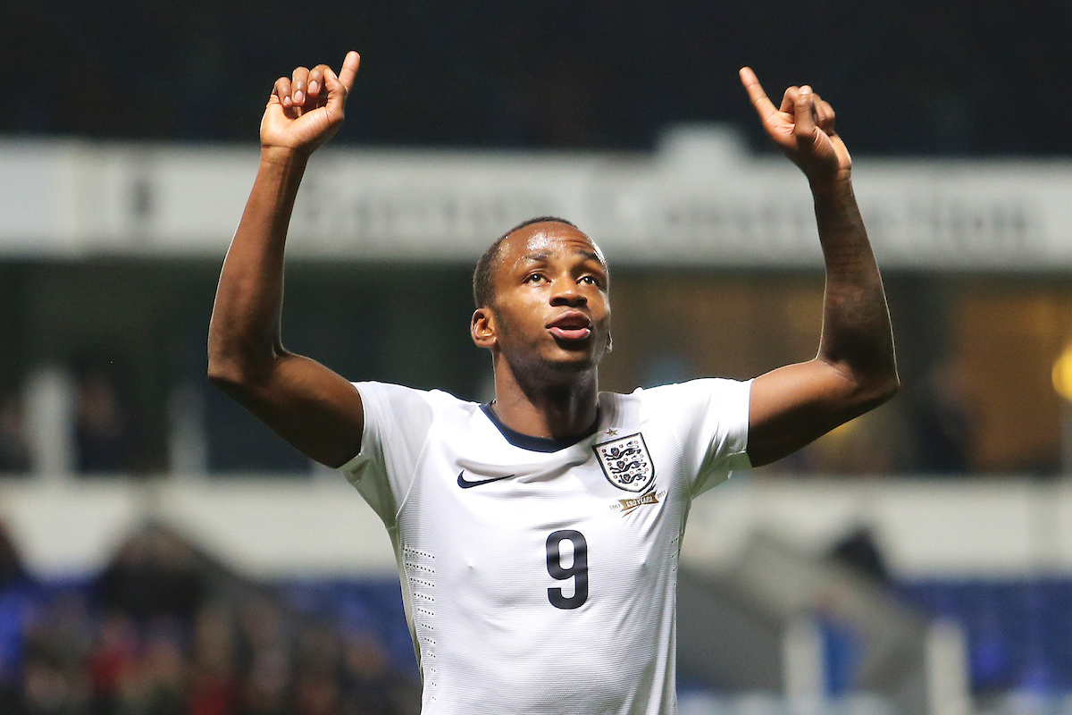 Picture by Richard Calver/Focus Images Ltd +447792 981244 15/10/2013 Saido Berahino of England Under 21 celebrates his sides third goal of the European U21 Championship Qualifying match against Lithuania Under 21 at Portman Road, Ipswich.