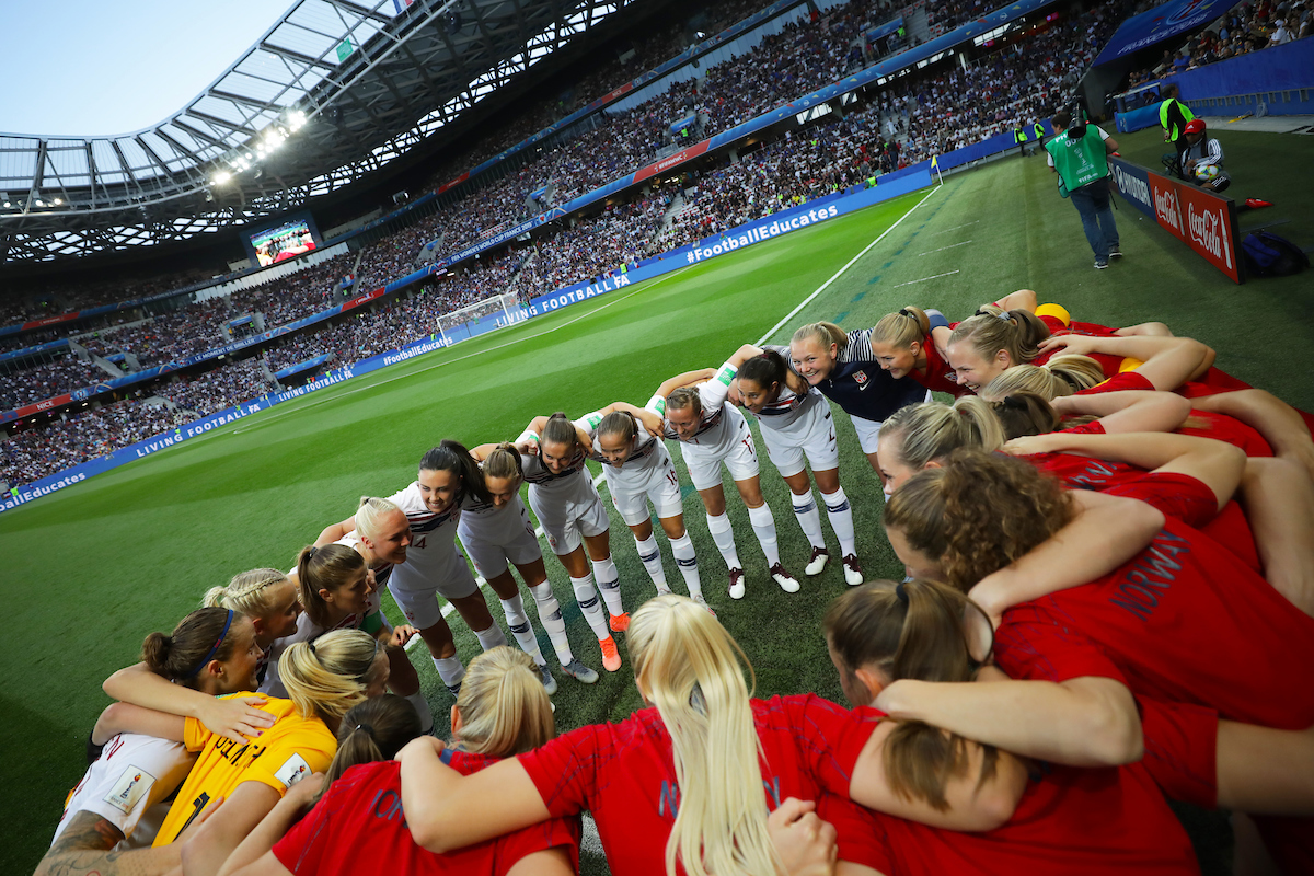 Norway Women team huddle during the 2019 FIFA Women's World Cup match at Allianz Riviera, Nice Picture by Kunjan Malde/Focus Images Ltd +447523653989 12/06/2019