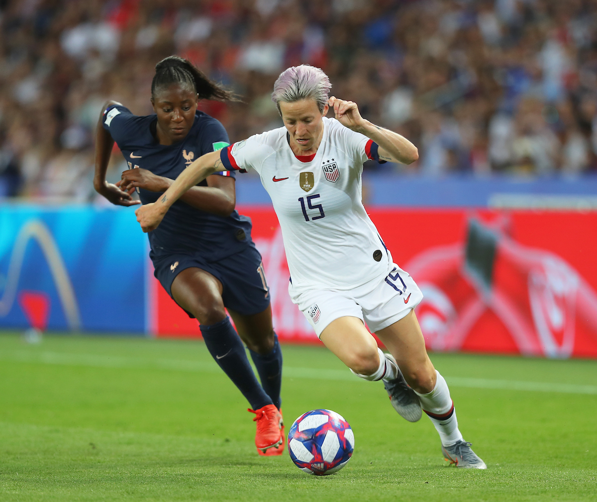 Kadidiatou Diani of France Women and Megan Rapinoe of USA Women during the 2019 FIFA Women's World Cup match at Parc des Princes, Paris Picture by Kunjan Malde/Focus Images Ltd +447523653989 28/06/2019