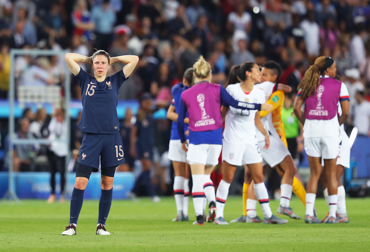 Elise Bussaglia of France Women is dejected after they lose the 2019 FIFA Women's World Cup match at Parc des Princes, Paris Picture by Kunjan Malde/Focus Images Ltd +447523653989 28/06/2019