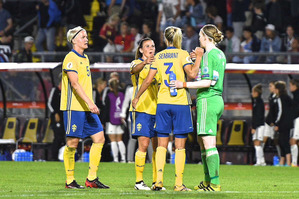Nilla Fischer, Jessica Samuelsson, Linda Sembrant and Hedvig Lindahl of Sweden celebrate following the 0-0 draw against Germany during the UEFA Women's Euros 2017 match at the Rat Verlegh Stadion, Breda Picture by Kristian Kane/Focus Images Ltd +44 7814 482222 17/07/2017