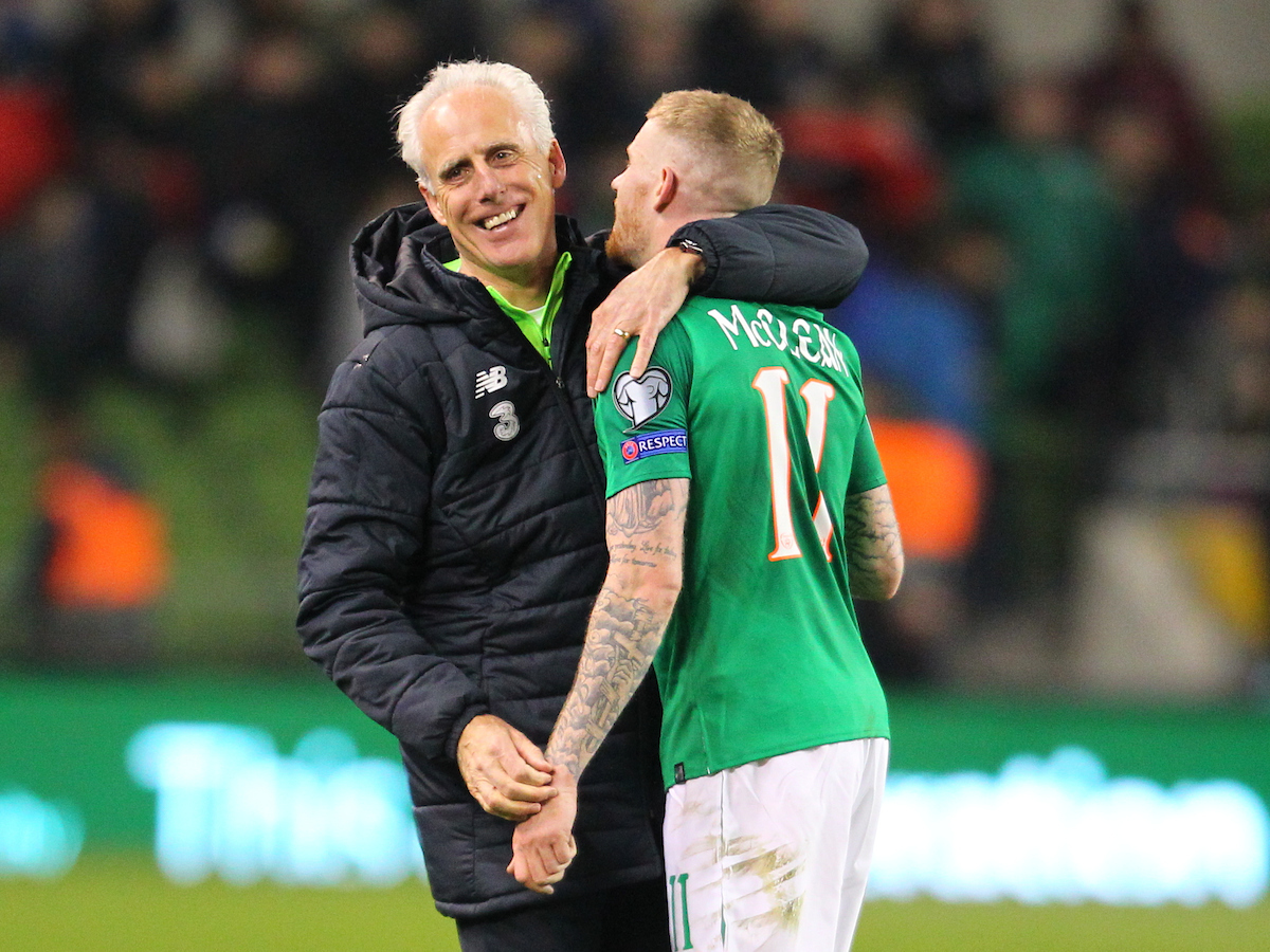 Mick McCarthy and James McClean of Republic of Ireland celebrate at the end of the UEFA Euro 2020 Qualifiers match at the Aviva Stadium, Dublin Picture by Yannis Halas/Focus Images Ltd +353 8725 82019 26/03/2019