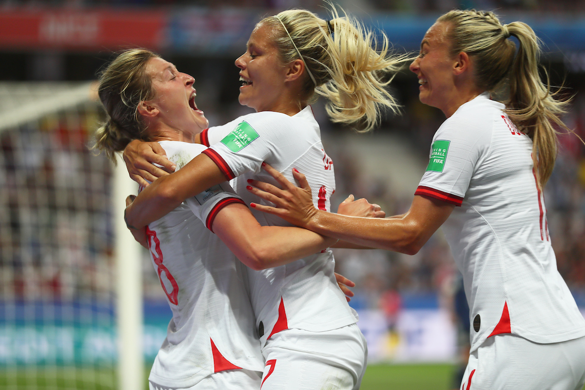 Ellen White of England Women celebrates scoring with Rachel Daly and Toni Duggan during the 2019 FIFA Women's World Cup match at Allianz Riviera, Nice Picture by Kunjan Malde/Focus Images Ltd +447523653989 19/06/2019