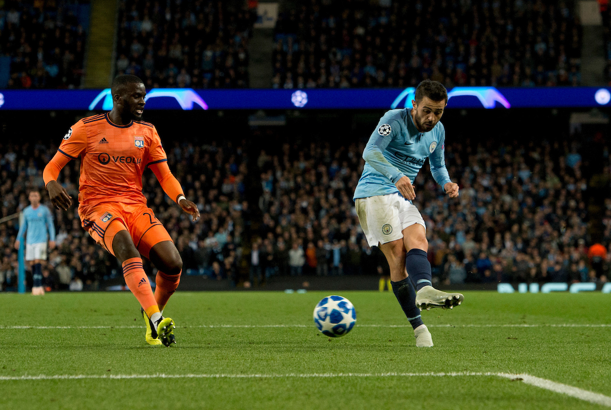 Bernardo Silva of Manchester City (right) scores his team's 1st goal to make it 1-2 in favour of Lyon during the UEFA Champions League match at the Etihad Stadium, Manchester Picture by Russell Hart/Focus Images Ltd 07791 688 420 19/09/2018