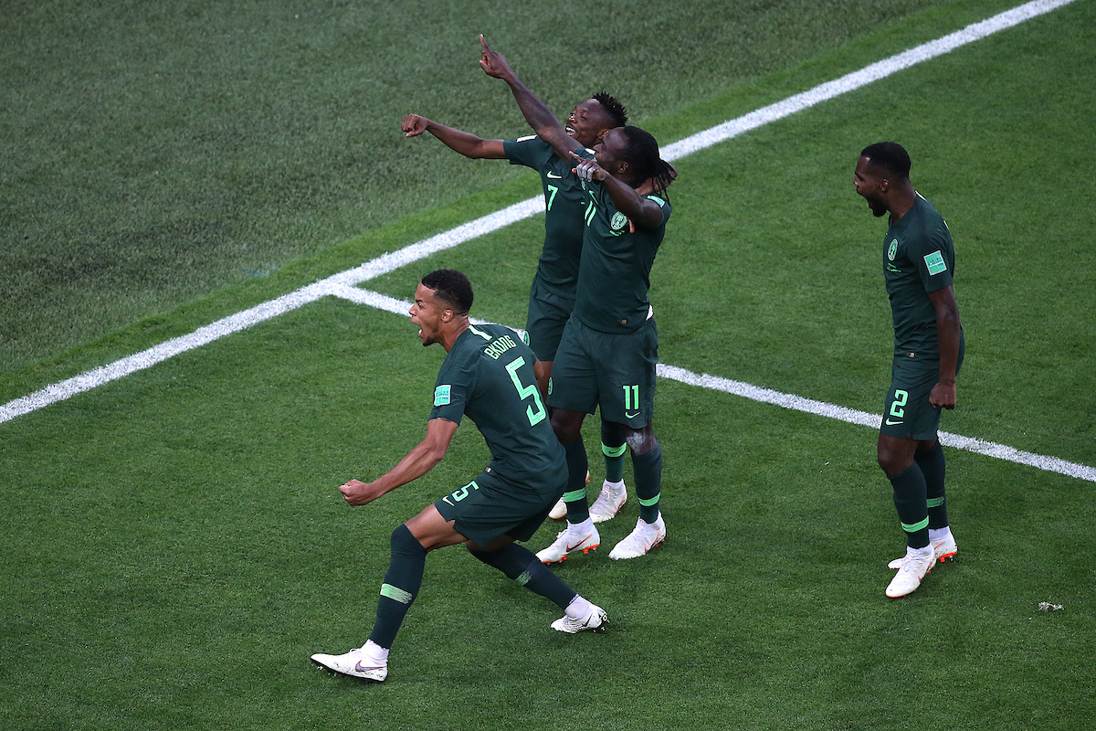 Mikel John Obi of Nigeria celebrates scoring his side's 1st goal with a backflip during the 2018 FIFA World Cup match at St Petersburg Stadium, St Petersburg Picture by Paul Chesterton/Focus Images Ltd +44 7904 640267 26/06/2018