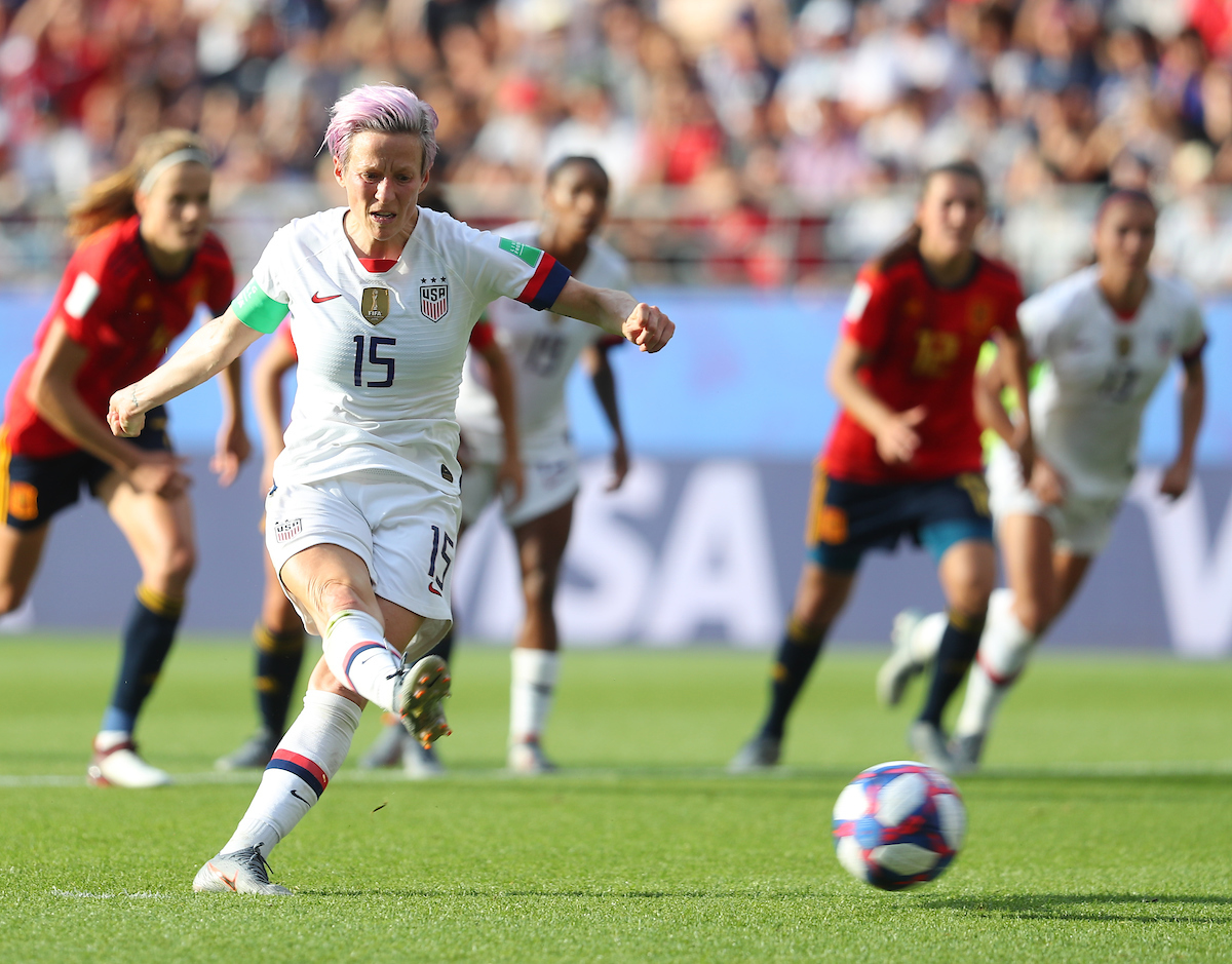 Megan Rapinoe of USA Women takes a penalty during the 2019 FIFA Women's World Cup match at Stade Auguste Delaune, Reims Picture by Kunjan Malde/Focus Images Ltd +447523653989 24/06/2019