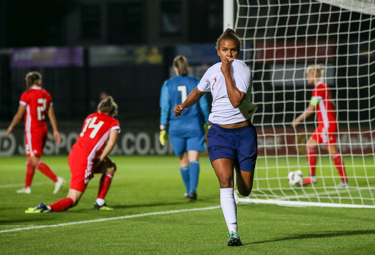 Nikita Parris of England Women celebrates the third goal during the FIFA Womens World Cup Qualifying match at Rodney Parade, Newport Picture by Mike Griffiths/Focus Images Ltd +44 7766 223933 31/08/2018