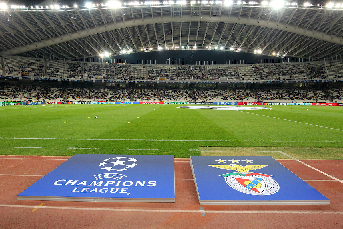 Benfica and Champions League logos during the UEFA Champions League match at Olympic Stadium, Athens Picture by Yannis Halas/Focus Images Ltd +353 8725 82019 02/10/2018