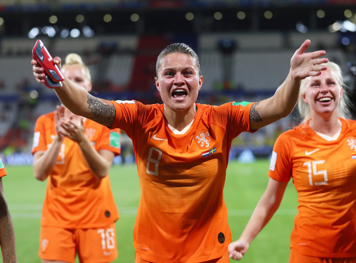 Sherida Spitse of Netherlands Women celebrates during the 2019 FIFA Women's World Cup match at Stade de Lyons, Lyons Picture by Kunjan Malde/Focus Images Ltd +447523653989 03/07/2019