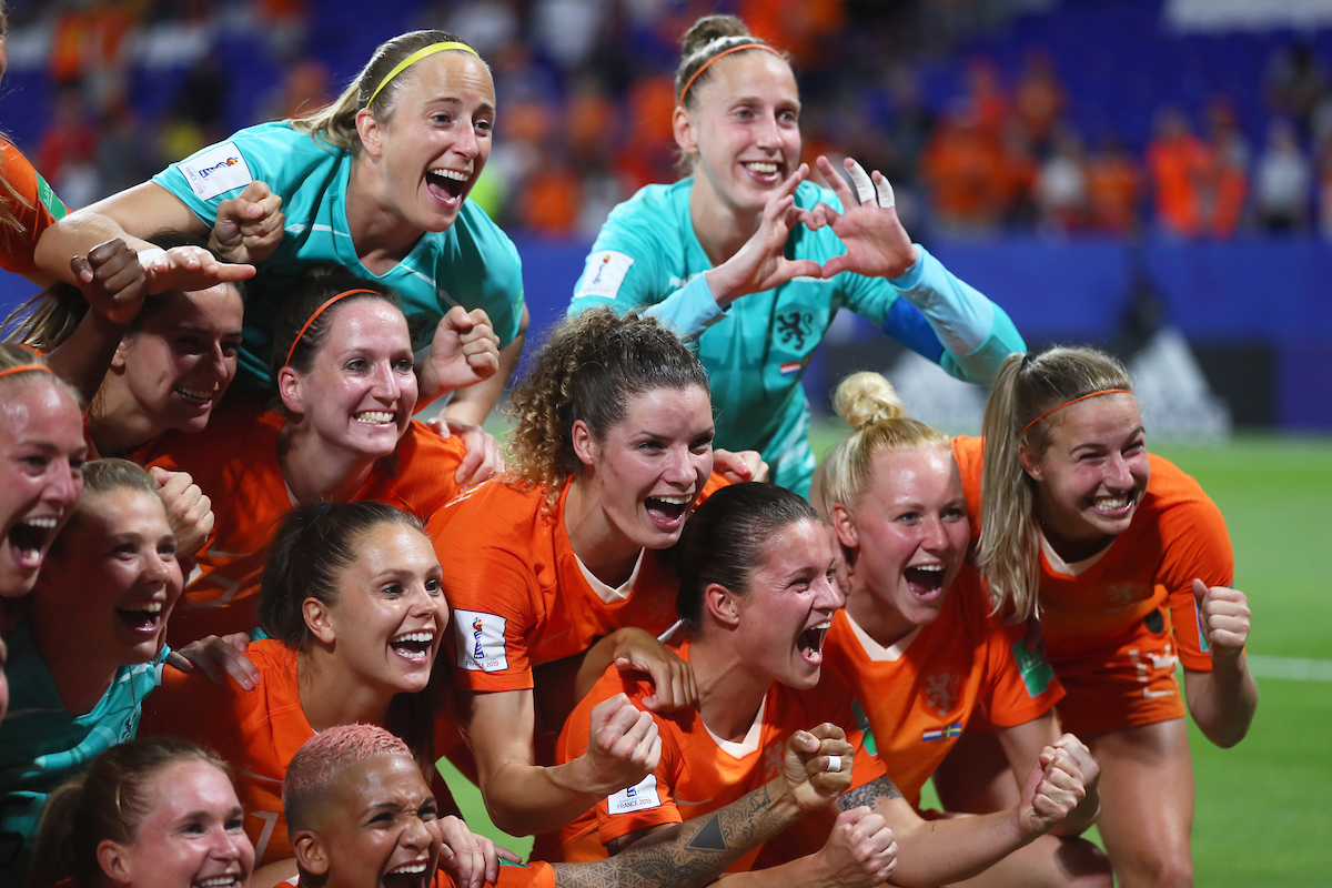 Netherlands Women celebrate winning during the 2019 FIFA Women's World Cup match at Stade de Lyons, Lyons Picture by Kunjan Malde/Focus Images Ltd +447523653989 03/07/2019