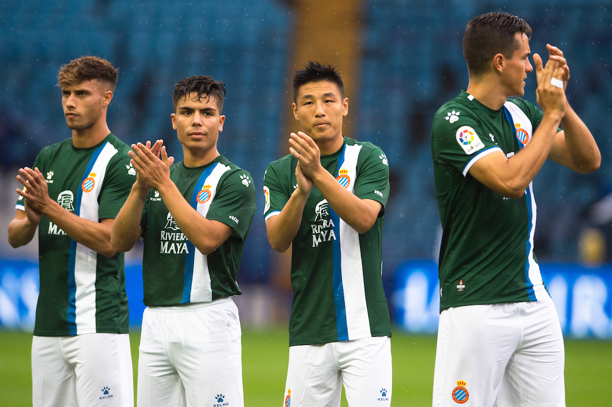 Wu Lei of Espanyol (2nd from right) ahead of the Pre-season friendly match at Hillsborough, Sheffield Picture by Matt Wilkinson/Focus Images Ltd 07814 960751 28/07/2019