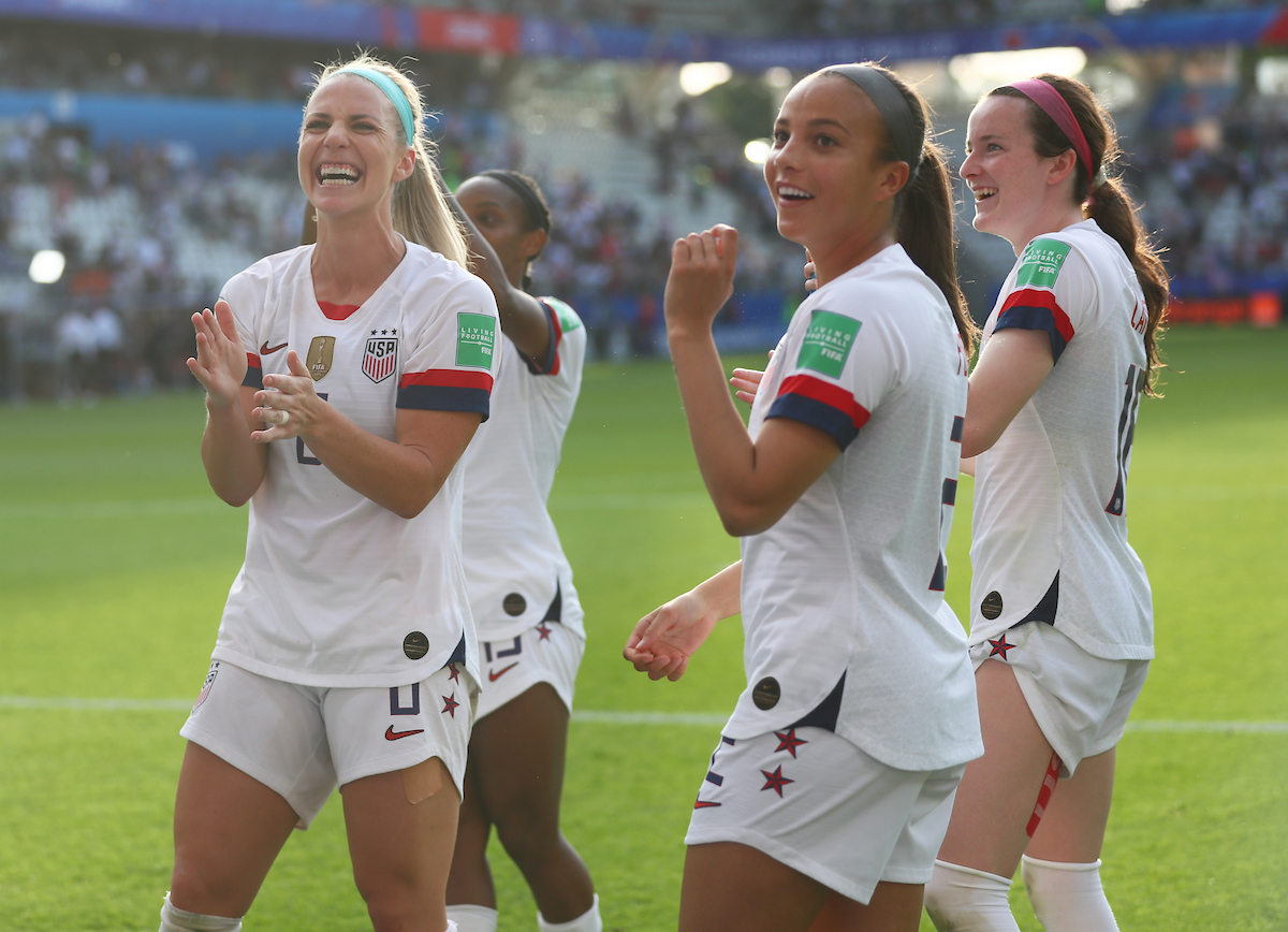 Julie Ertz, Mallory Pugh and Rose Lavelle of USA Women during the 2019 FIFA Women's World Cup match at Stade Auguste Delaune, Reims Picture by Kunjan Malde/Focus Images Ltd +447523653989 24/06/2019