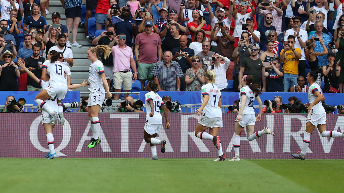 Megan Rapinoe (cc) of The USA celebrates scoring a penalty caused by Stefanie van der Gragt of The Netherlands to give them a one-nil lead during the 2019 FIFA Women's World Cup Final at Stade de Lyons, Lyons Picture by Kunjan Malde/Focus Images Ltd +447523653989 07/07/2019