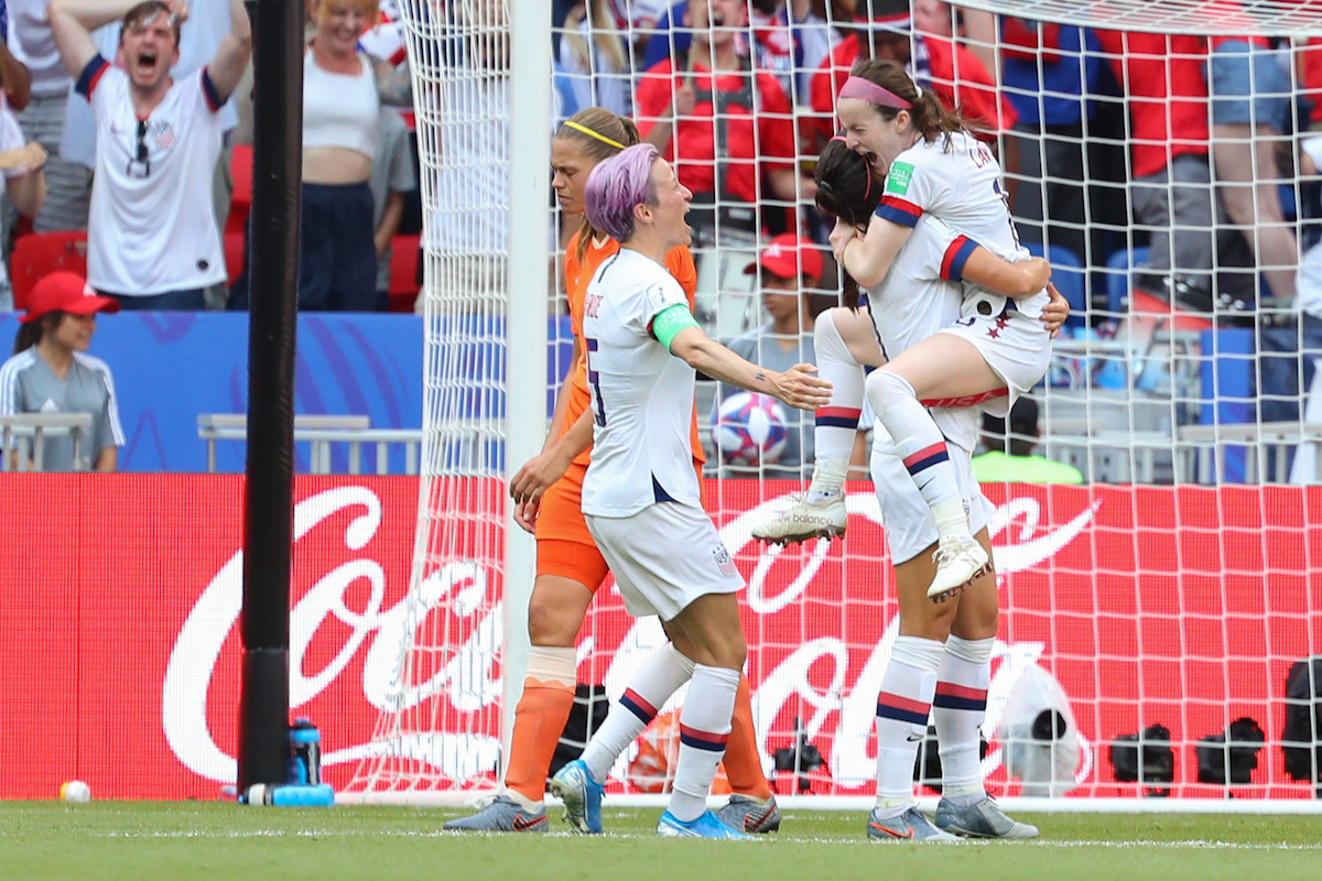Rose Lavelle of The USA celebrates scoring their second goal against the Netherlands during during the 2019 FIFA Women's World Cup Final at Stade de Lyons, Lyons Picture by Kunjan Malde/Focus Images Ltd +447523653989 07/07/2019