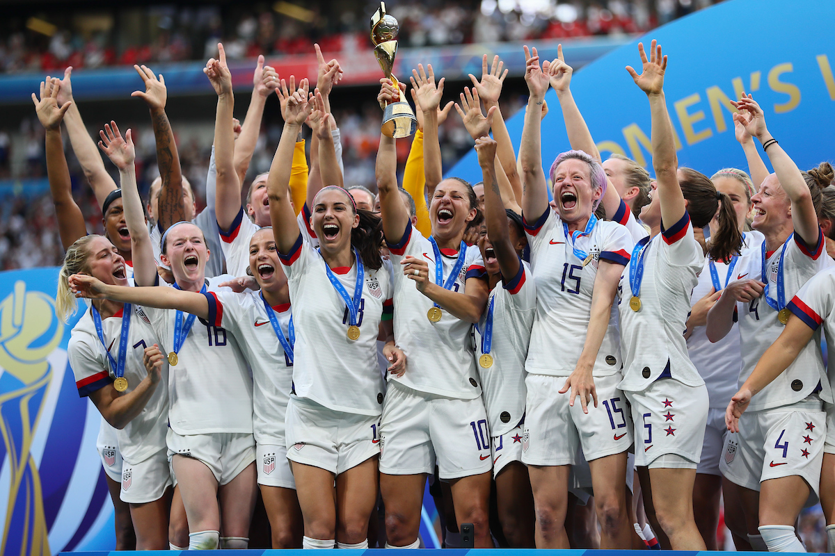 Team USA celebrate their win following the 2019 FIFA Women's World Cup Final at Stade de Lyons, Lyons Picture by Kunjan Malde/Focus Images Ltd +447523653989 07/07/2019