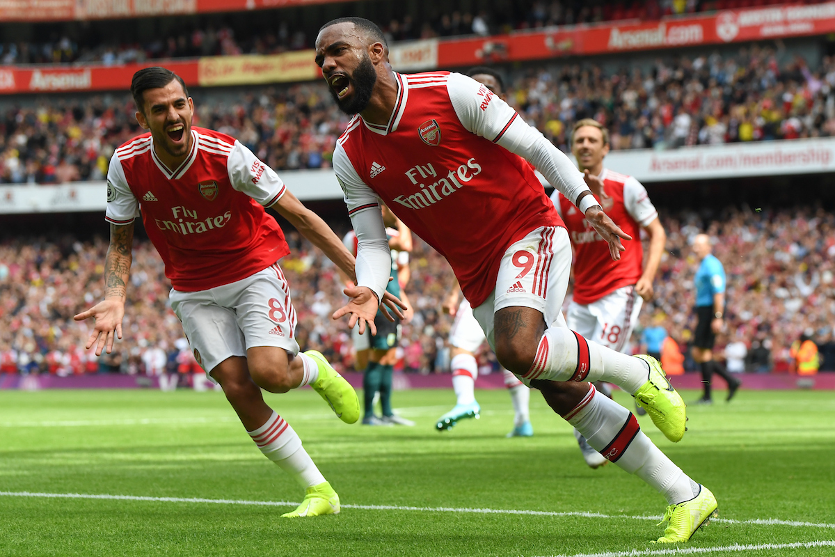 Alexandre Lacazette of Arsenal celebrates scoring the opening goal during the Premier League match at the Emirates Stadium, London Picture by Martyn Haworth/Focus Images Ltd 07463250714 17/08/2019