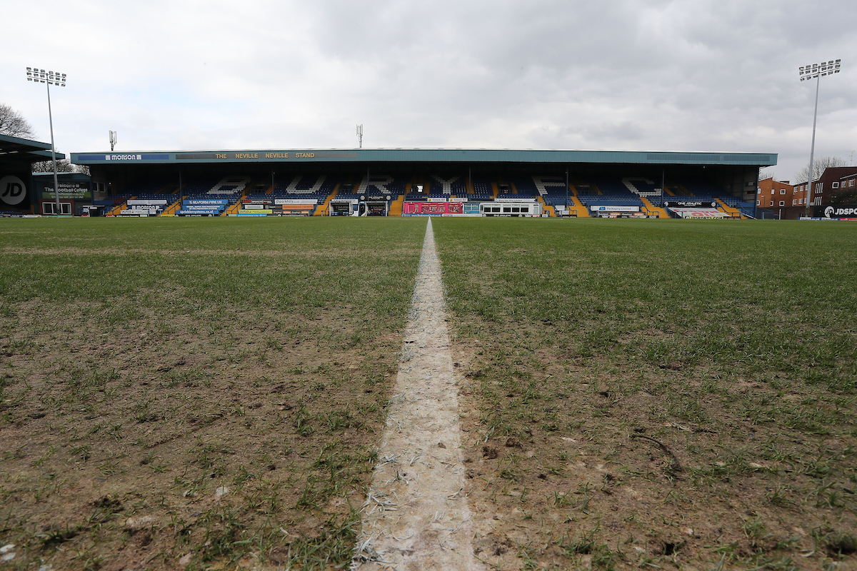 The pitch in poor condition at Gigg Lane, prior to the Sky Bet League 1 match between Bury and Wigan Athletic, Bury.  Picture by Michael Sedgwick/Focus Images Ltd +44 7900 363072  24/03/2018