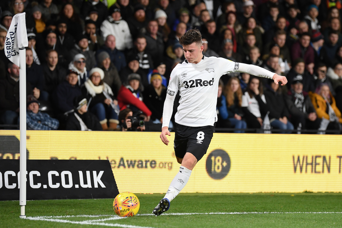 Mason Mount of Derby County during the Sky Bet Championship match at Pride Park Stadium, Derby Picture by Martyn Haworth/Focus Images Ltd 07463250714 17/12/2018