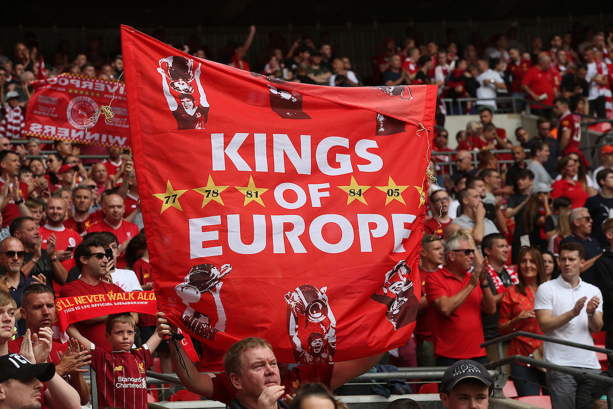 The Liverpool fans before the FA Community Shield match at Wembley Stadium, London Picture by Paul Chesterton/Focus Images Ltd +44 7904 640267 04/08/2019