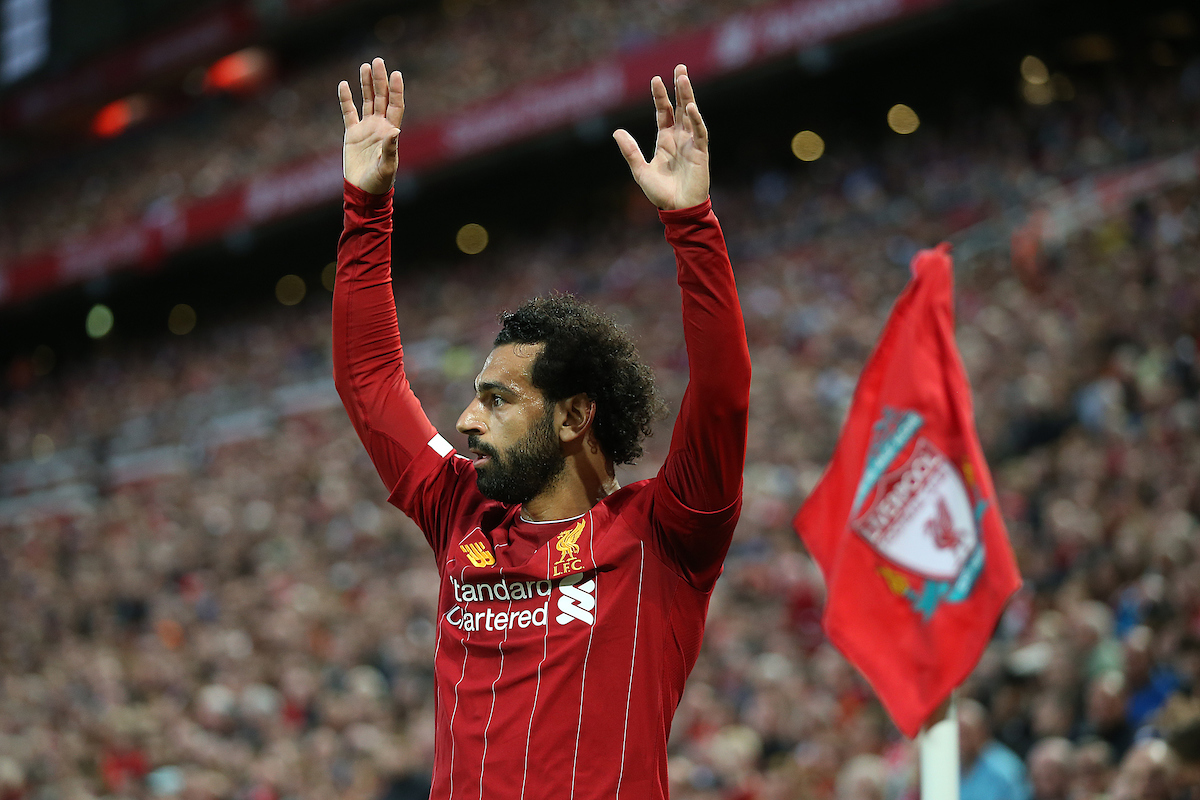 Mo Salah of Liverpool prepares to take the corner that leads to his side's 3rd goal during the Premier League match at Anfield, Liverpool Picture by Paul Chesterton/Focus Images Ltd +44 7904 640267 09/08/2019