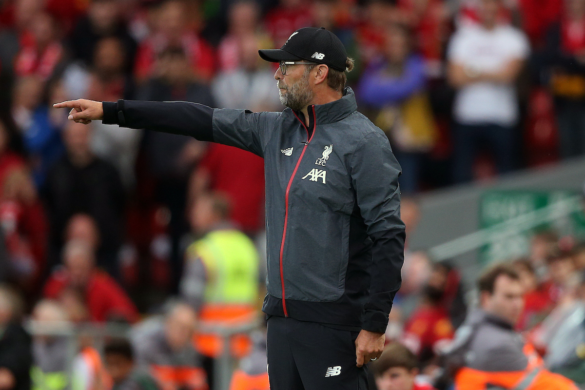 Liverpool Manager Jurgen Klopp during the Premier League match at Anfield, Liverpool Picture by Paul Chesterton/Focus Images Ltd +44 7904 640267 09/08/2019