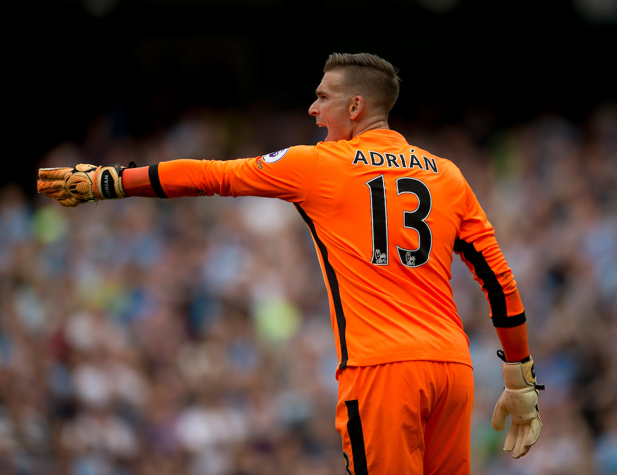 West Ham United goalkeeper Adrian instructs his defenders during the Premier League match at the Etihad Stadium, Manchester Picture by Russell Hart/Focus Images Ltd 07791 688 420 28/08/2016