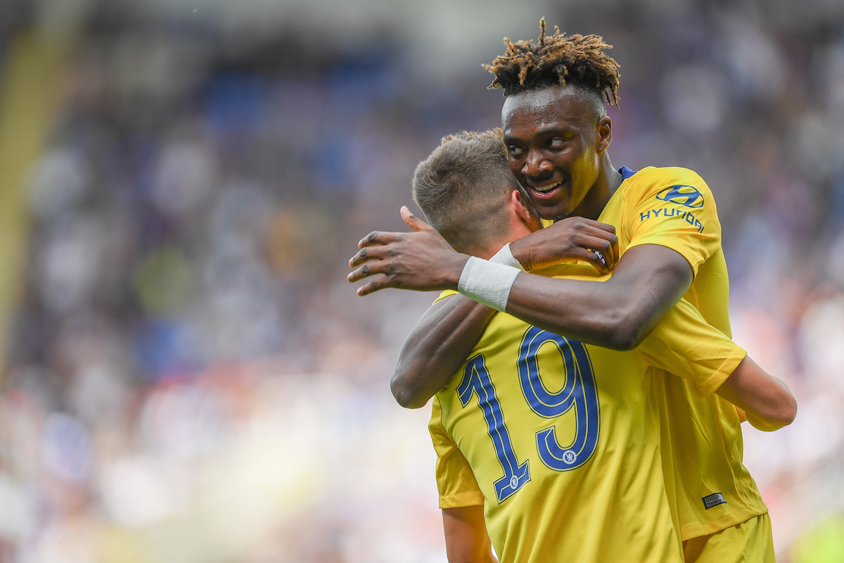 Mason Mount of Chelsea celebrates his first goal with Tammy Abraham during the Pre-season friendly match at the Madejski Stadium, Reading Picture by Jeremy Landey/Focus Images Ltd 07747773987 28/07/2019