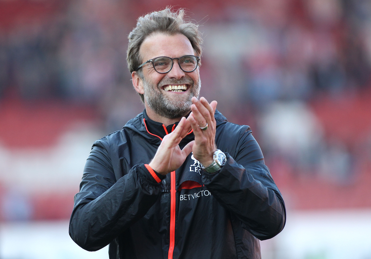 Jurgen Klopp manager of Liverpool celebrates after his teams 2-1 victory against Stoke City in the Premier League match at the Bet 365 Stadium, Stoke-on-Trent. Picture by Michael Sedgwick/Focus Images Ltd +44 7900 363072 08/04/2017