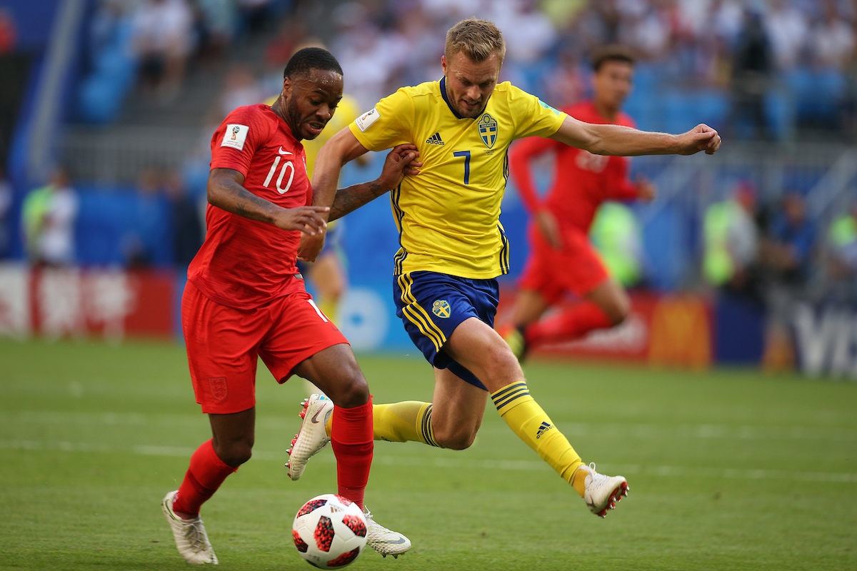 Raheem Sterling of England and Sebastian Larsson of Sweden during the 2018 FIFA World Cup Quarter-Final match at Samara Arena, Samara Picture by Paul Chesterton/Focus Images Ltd +44 7904 640267 07/07/2018