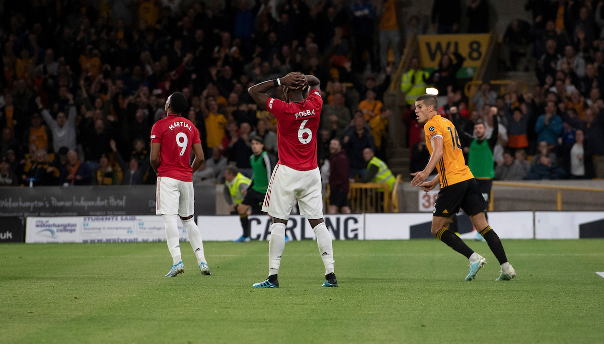 Paul Pogba of Manchester United reacts after failing to score a penalty during the Premier League match at Molineux, Wolverhampton Picture by Russell Hart/Focus Images Ltd 07791 688 420 19/08/2019