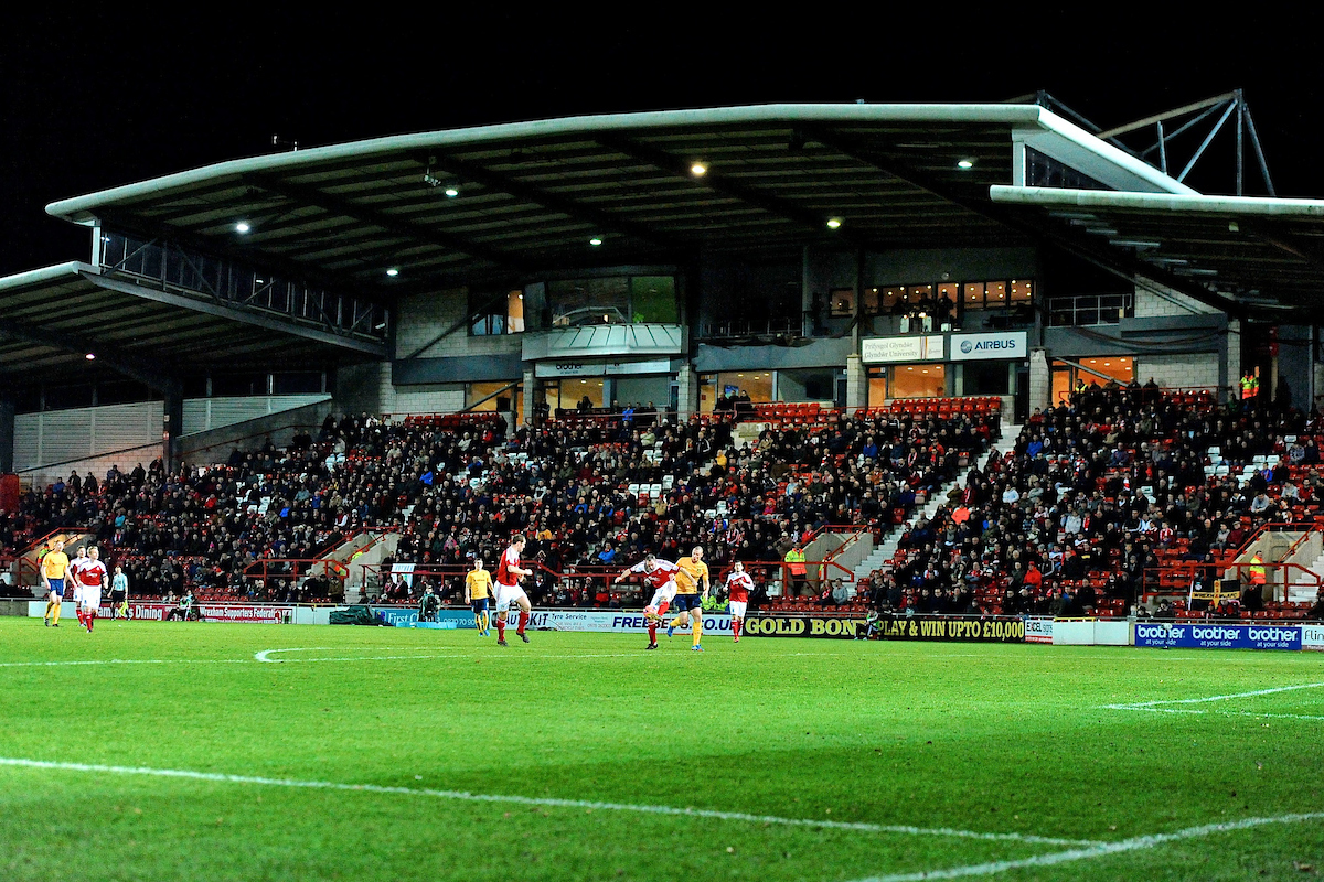 Picture by Ian Wadkins/Focus Images Ltd +44 7877 568959 09/12/2013 General view of the stadium during the FA Cup second round match at Racecourse Ground, Wrexham.