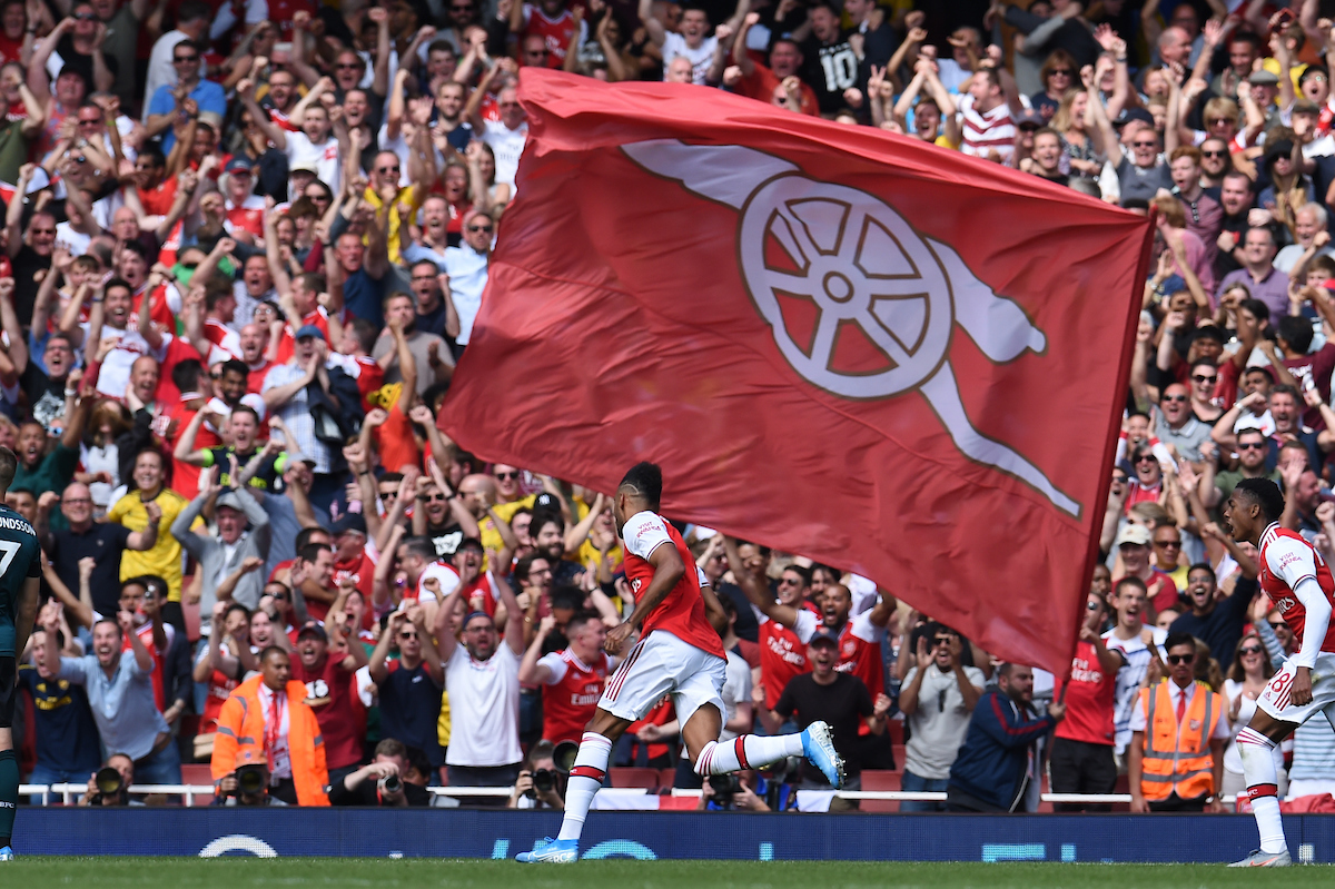 Pierre-Emerick Aubameyang of Arsenal celebrates making it 2:1 during the Premier League match at the Emirates Stadium, London Picture by Martyn Haworth/Focus Images Ltd 07463250714 17/08/2019