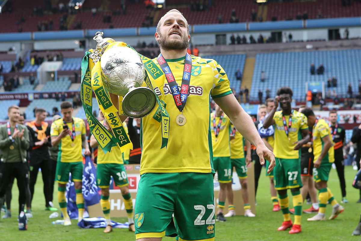 Teemu Pukki of Norwich with the trophy at the end of the Sky Bet Championship match at Villa Park, Birmingham Picture by Paul Chesterton/Focus Images Ltd +44 7904 640267 05/05/2019