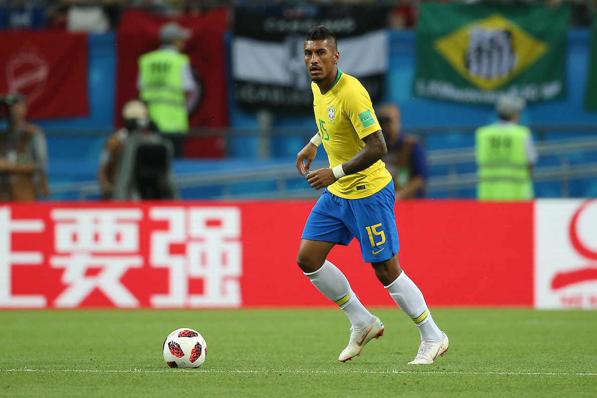 Paulinho of Brazil in action during the 2018 FIFA World Cup Quarter-Final match at Kazan Arena, Kazan Picture by Paul Chesterton/Focus Images Ltd +44 7904 640267 06/07/2018