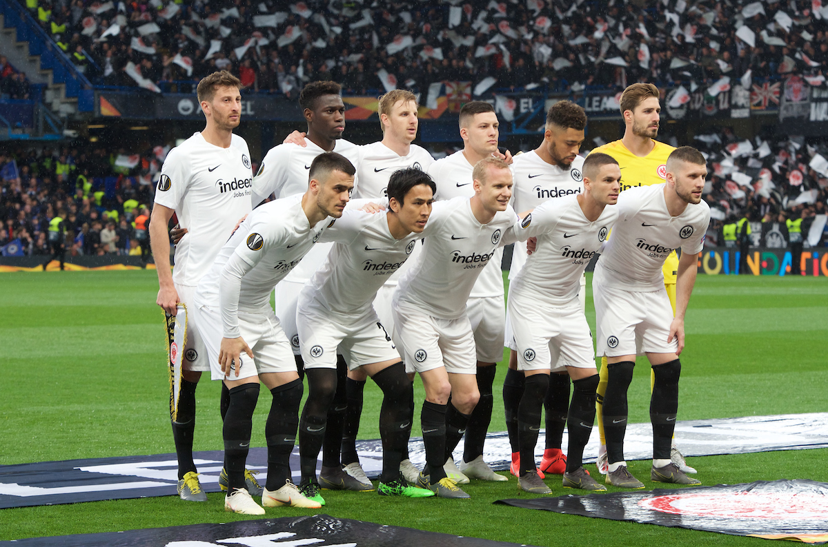Eintracht Frankfurt team before the UEFA Europa League Semi-Final match at Stamford Bridge, London Picture by Alan Stanford/Focus Images Ltd +44 7915 056117 09/05/2019