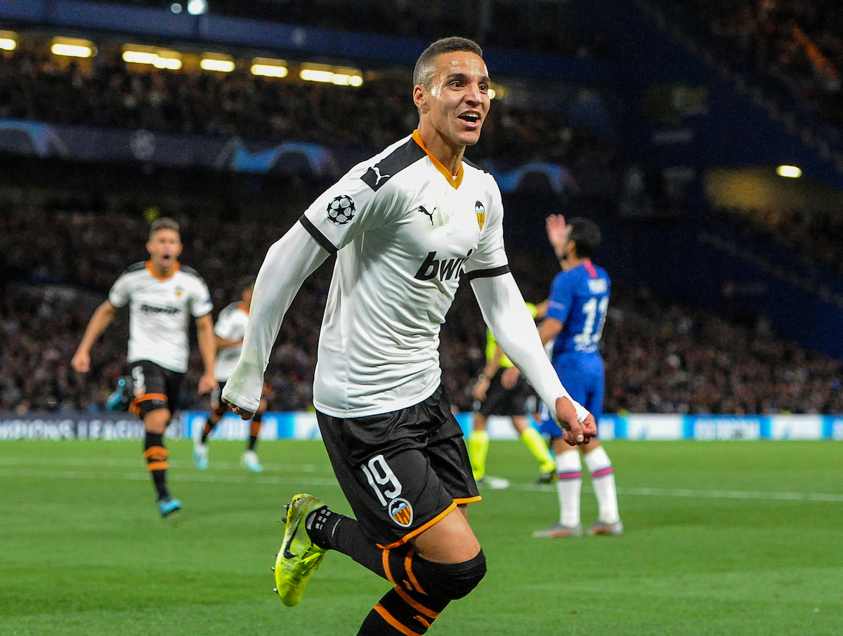 Rodrigo Moreno of Valencia celebrates scoring their first goal during the UEFA Champions League match at Stamford Bridge, London Picture by Jeremy Landey/Focus Images Ltd 07747773987 17/09/2019