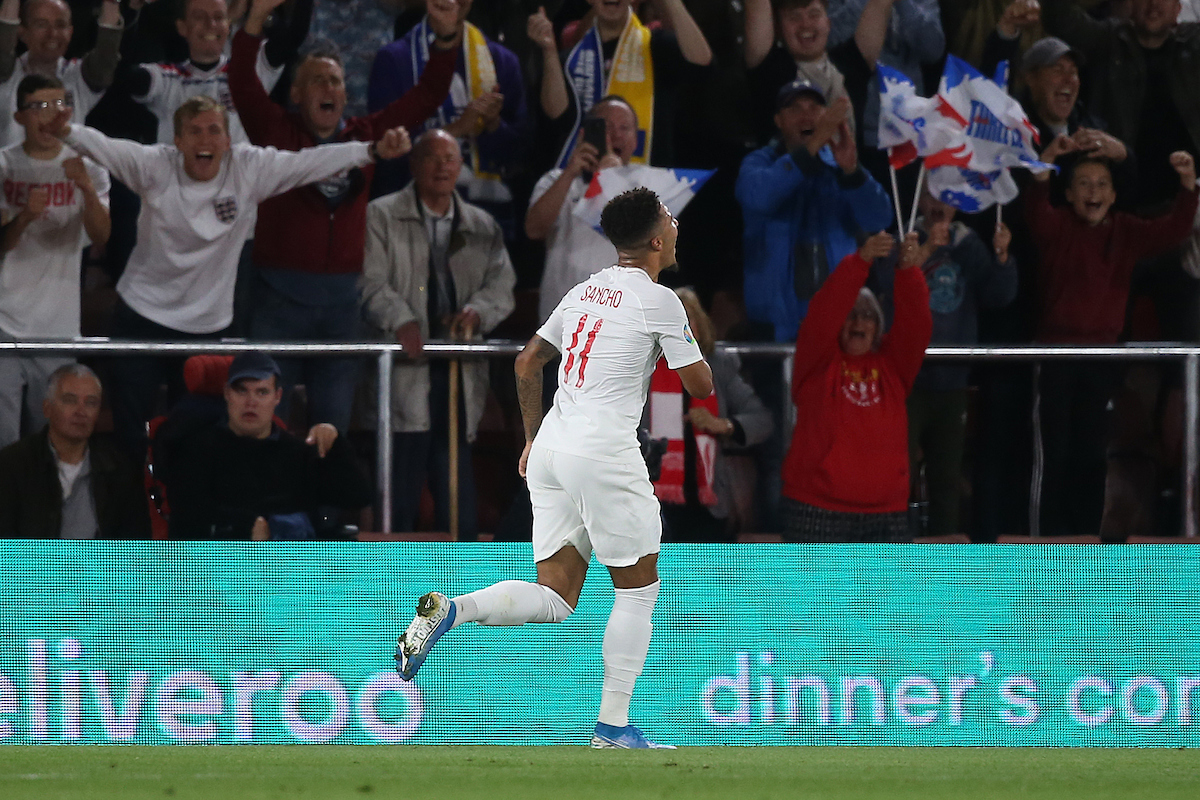 in action during the UEFA Euro 2020 Qualifiers match at the St Mary's Stadium, Southampton Picture by Paul Chesterton/Focus Images Ltd +44 7904 640267 10/09/2019fJadon Sancho of England celebrates scoring his side's 4th goal during the UEFA Euro 2020 Qualifiers match at the St Mary's Stadium, Southampton Picture by Paul Chesterton/Focus Images Ltd +44 7904 640267 10/09/2019