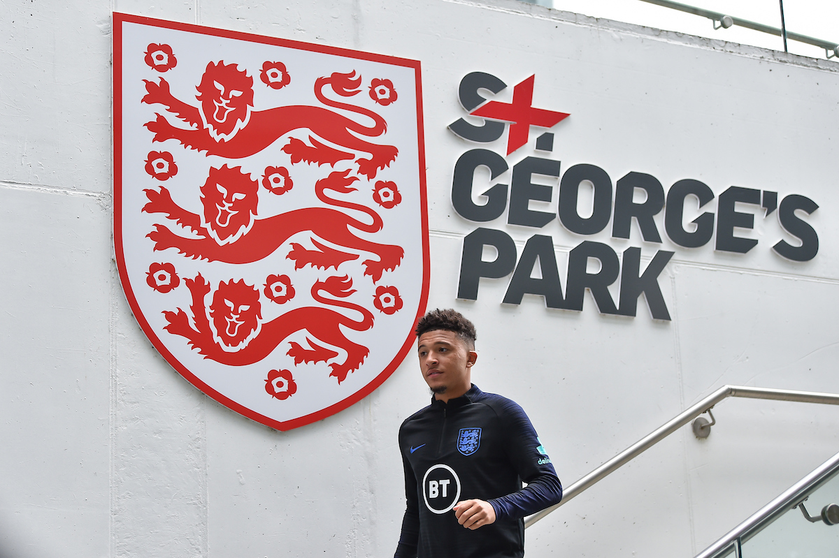 Jadon Sancho of England during the England training session at St Georges Park, Burton upon Trent Picture by Martyn Haworth/Focus Images Ltd 07463250714 02/09/2019