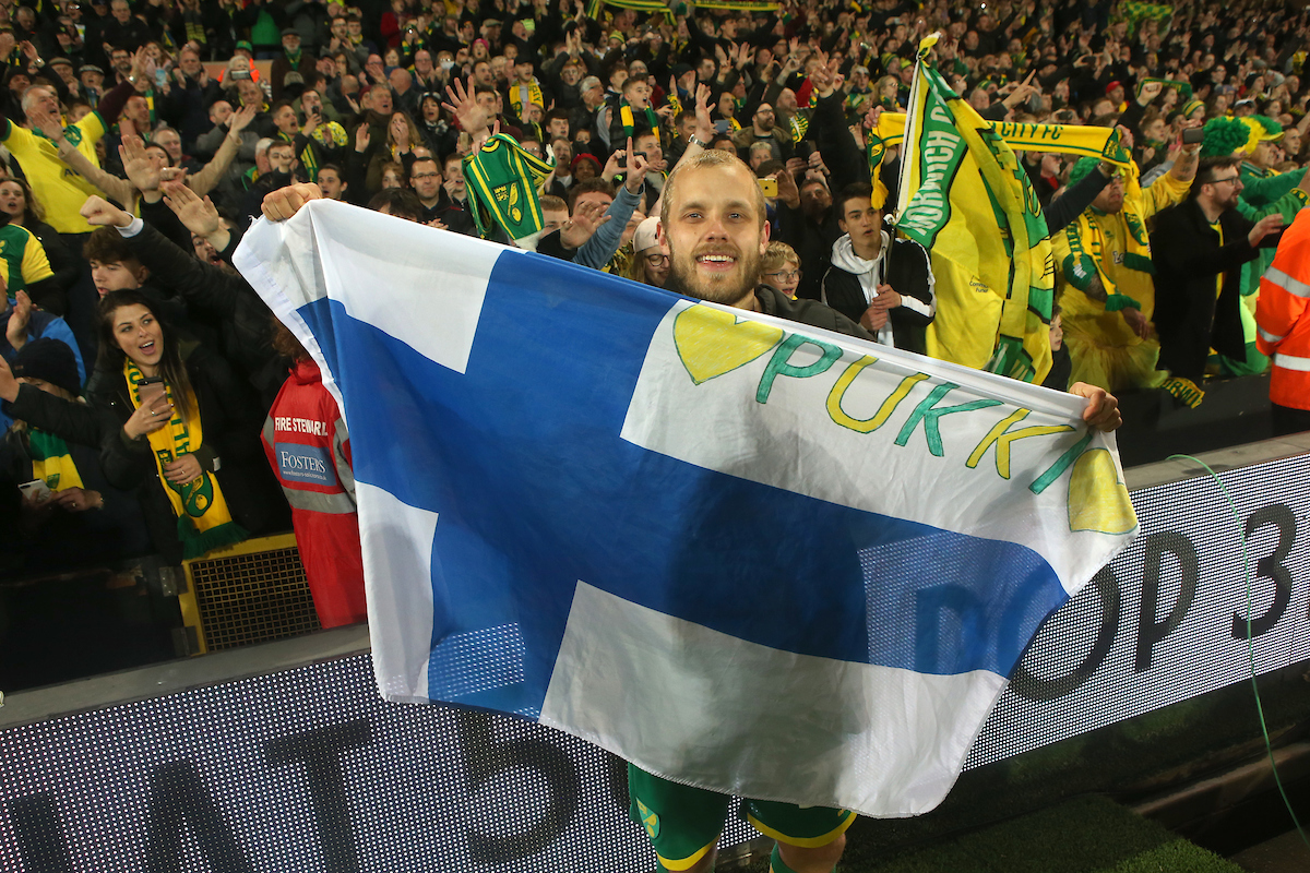 Teemu Pukki of Norwich celebrates promotion at the end of the Sky Bet Championship match at Carrow Road, Norwich Picture by Paul Chesterton/Focus Images Ltd +44 7904 640267 27/04/2019