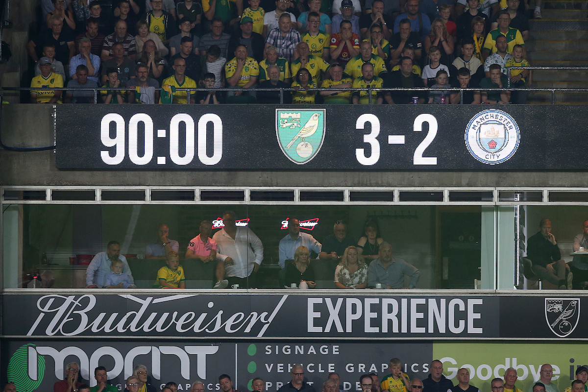 The scoreboard tells the story during the Premier League match at Carrow Road, Norwich Picture by Paul Chesterton/Focus Images Ltd +44 7904 640267 14/09/2019
