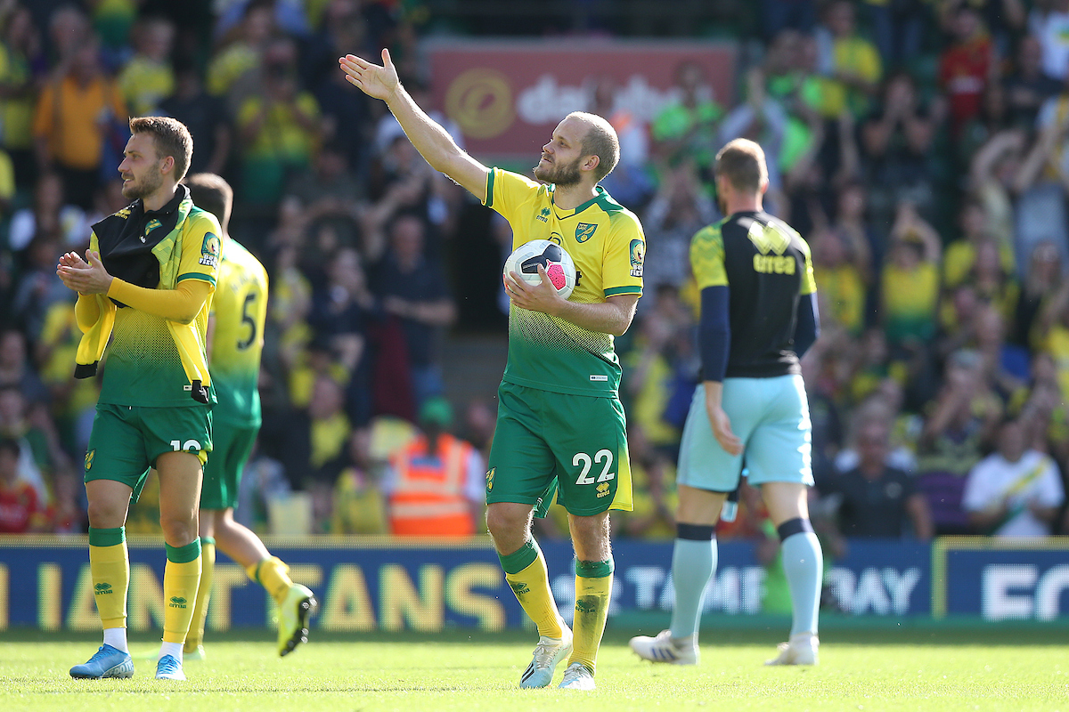 Hat trick hero Teemu Pukki of Norwich celebrates victory at the end of the Premier League match at Carrow Road, Norwich Picture by Paul Chesterton/Focus Images Ltd +44 7904 640267 17/08/2019