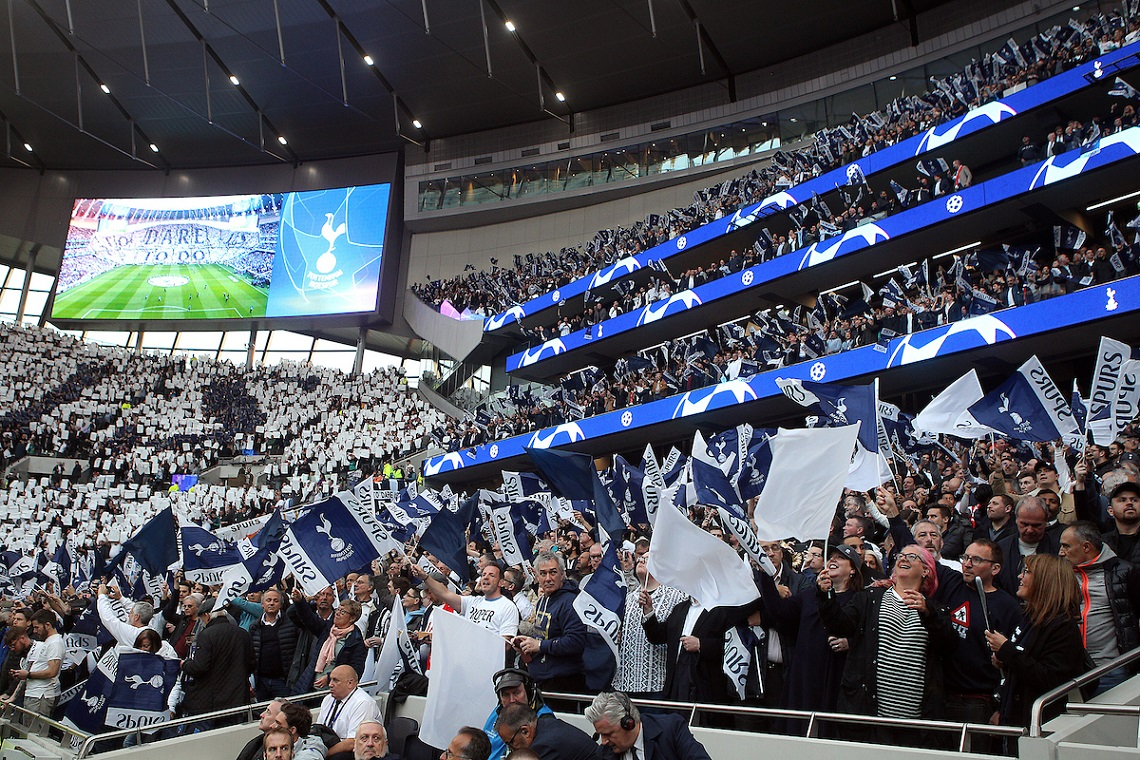 The Spurs fans get behind their side before the UEFA Champions League Semi-final match at Tottenham Hotspur Stadium, London Picture by Paul Chesterton/Focus Images Ltd +44 7904 640267 30/04/2019