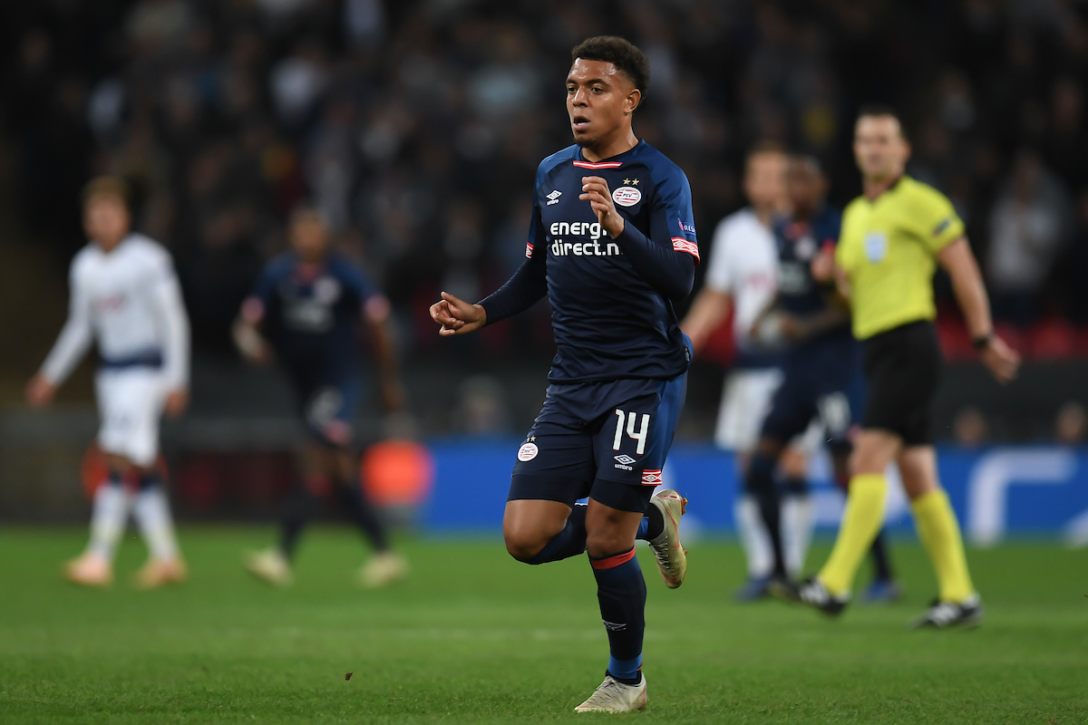 Donyell Malen of PSV Eindhoven during the UEFA Champions League match at Wembley Stadium, London Picture by Martyn Haworth/Focus Images Ltd 07463250714 06/11/2018